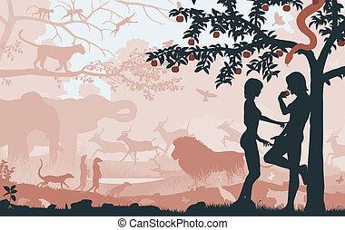 Original sin - Editable vector silhouettes of Adam and Eve...