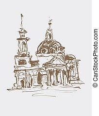 original sketch drawing in sepia color of historical building