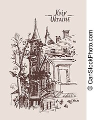 original sketch drawing of historical building from Kyiv Ukraine