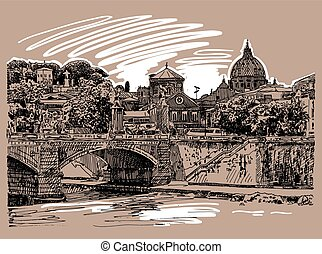 sketch drawing of Rome Italy cityscape, type of bridge in river