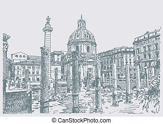 sketch hand drawing of Rome Italy famous cityscape -...