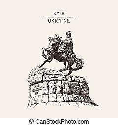 monument of famous Ukrainian hetman Bogdan Khmelnitsky on...