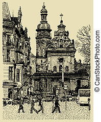 original sketchy handmade drawing of Lviv