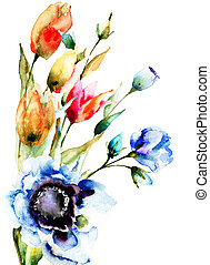 Original Spring flowers, watercolor illustration