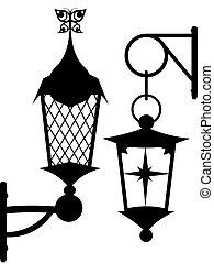 original street lantern - Silhouette of ancient original...