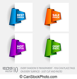 Original Style Paper Tag with TRANSPARENT shadows