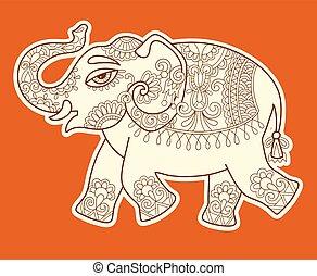 Mehendi ornement l phant style mod le mehendi traditionnel india l phant - Elephant indien dessin ...