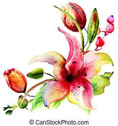 Original Summer flowers, watercolor illustration