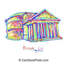 original, teckning, regnbåge färgar, italien, rom, plats, berömd