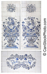 original tiles with flower vase, bunch of flowers, insects and birds