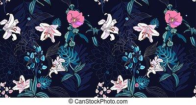 original trendy seamless artistic flower pattern