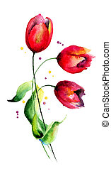Original Tulips flowers, watercolor illustration