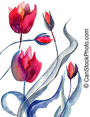 Original Tulips flowers, Watercolor painting