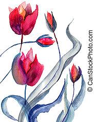 Original Tulips flowers, Watercolor painting
