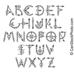 original unique creative hipster black alphabet font collection