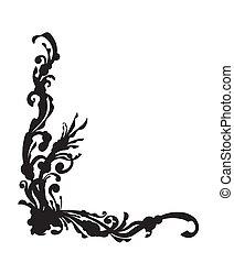 Original, unusual black corner for your design