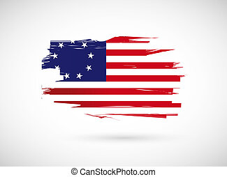 original usa us ink flag illustration design over a white...
