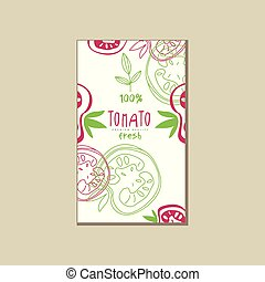 Original vector card with fresh tomatoes. Natural and healthy vegetable. Abstract hand drawn design for product promo, grocery store