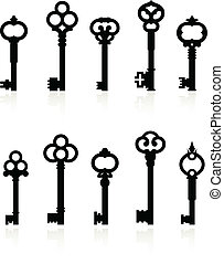 Original vector illustration: antique keys collection