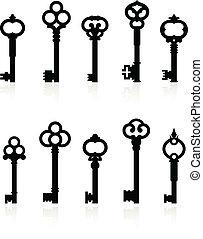antique keys collection - Original vector illustration:...