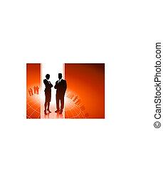 Business executives with global financial team - Original...
