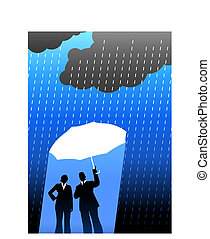 Business insurance background with two people - Original...