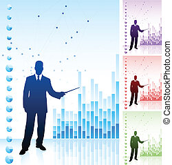 Business man on background with financial charts