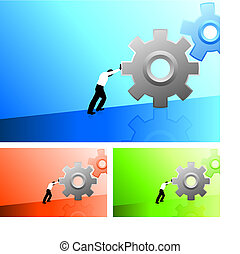 Business man pushing gears uphill - Original Vector...