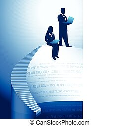 Original Vector Illustration: Business people with laptop computers AI8 compatible