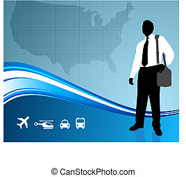 Business traveler on US map backgroundtraveler - Original...
