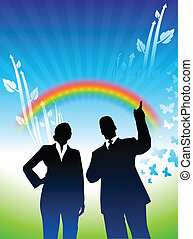 Original Vector Illustration: businessman and businesswoman on green nature background with rainbow