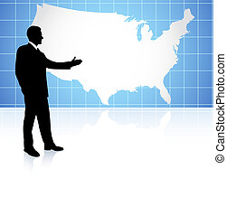 Businessman on US map background