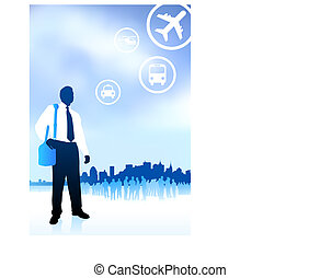 businessman traveler with new york skyline internet background