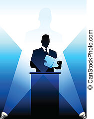 Original Vector Illustration: Business/political speaker silhouette background AI8 compatible