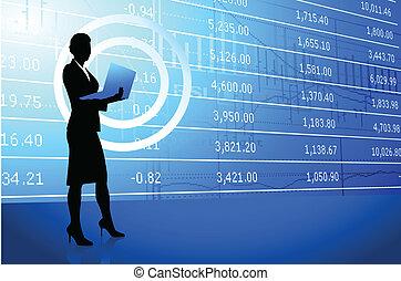 businesswoman holding laptop on stock market background -...