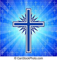 Christian cross glowing background
