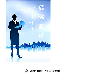 Original Vector Illustration: businesswoman holding laptop internet background with new york city