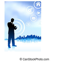 Original Vector Illustration: businessman on phone with internet icons new york skyline background AI8 compatible