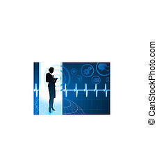 Original Vector Illustration: Businesswoman working with cellphone on internet pulse icon background AI8 compatible