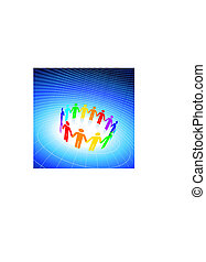 Original Vector Illustration: different color stick figures holding hands on blue globe background
