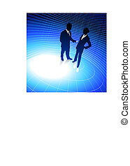 Original Vector Illustration: businessman and businesswoman blue internet background with binary code AI8 compatible