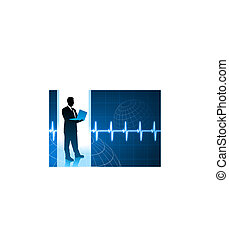 Original Vector Illustration: businessman holding computer internet background with pulse heart rate