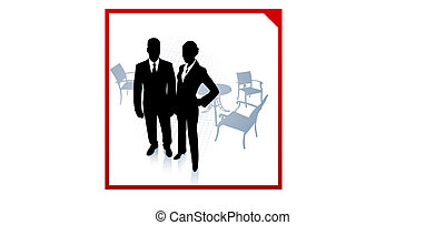 Original Vector Illustration: businessman and businesswoman during break on red border background AI8 compatible