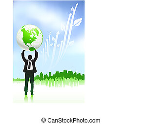 Original Vector Illustration: Businessman holding globe nature internet background with new york skyline