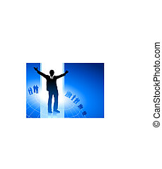 Original Vector Illustration: excited businessman with business team on blue internet background