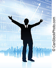 Original Vector Illustration: excited businessman with...