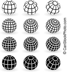 Original vector illustration: globe wire frame symbols