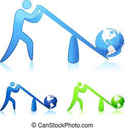 lifting the world (leverage) - Original vector illustration...