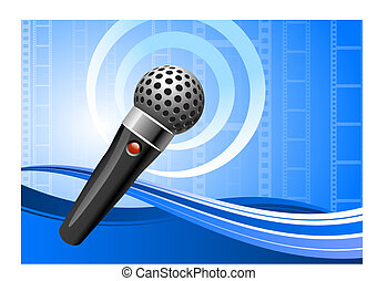 microphone on film reel background
