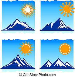 mountains icons - Original vector illustration: mountains ...